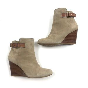 Coach Ambyr Tan Buckle Slip On Wedge Ankle Booties
